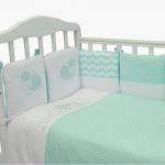 Комплект в кроватку Долли 6 предметов, бортики-подушки, цвет: бирюзовый