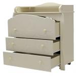 Пеленальный комод Топотушки Софья (Облака) МДФ Эмаль 3 ящика цвет: слоновая кость