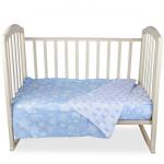 КПБ в кроватку Alis Спокойной ночи 3 предмета цвет: бирюзовые короны/звезды