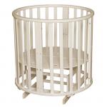 Круглая кроватка с маятником 6 в 1 Антел Северянка-3 цвет: слоновая кость