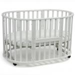 Круглая кроватка-трансформер с маятником Малика Mio 6 в 1 цвет: белый