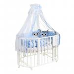 Комплект в овальную кроватку Евротек, Совята, 7 предметов, 38452 цвет: голубой