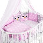 Комплект в кроватку Евротек, Совята, 7 предметов, 38455 цвет: розовый