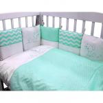 Комплект в кроватку Гав-Гав 6 предметов, бортики-подушки, цвет: бирюзовый
