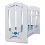 Кроватка-маятник ВДК Little Heart, колесо-качалка+маятник цвет: белый