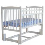 Кроватка Массив Беби-3, продольный маятник цвет: белый
