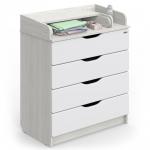 Пеленальный комод Атон Сириус-2 Wood 80/4 ПВХ 4 ящика цвет: древесина белая