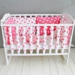 Комплект бортиков в детскую кроватку, Фенс, 35365 цвет: розовый