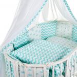 Комплект в овальную кроватку Евротек, Фея, 7 предметов, 38554 цвет: зелёный
