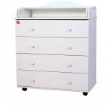 Пеленальный комод 4 ящика Топотушки Фортуна ЛДСП 800/4 цвет: белый
