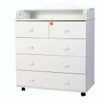 Пеленальный комод 5 ящиков Топотушки Фортуна ЛДСП 800/5 цвет: белый