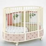 Кровать детская овальная с маятником Eva декор VIP цвет: капучино/слоновая кость