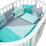 Бортик в кроватку Евротек Котята 12 подушек 32064 цвет: зелёный