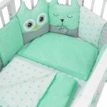 Комплект в кроватку Евротек, Лесные жители, 3 предмета, 60044 цвет: зелёный