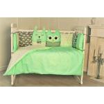 Комплект в кроватку Евротек, Лесные жители, 10 предметов, 35344 цвет: зеленый
