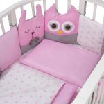 Комплект в кроватку Евротек, Лесные жители, 3 предмета, 60045 цвет: розовый