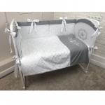 Комплект к кроватку Евротек Little Prince 6 предметов, вышивка 42007 цвет: серый