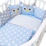 Комплект в кроватку Евротек, Совята, 3 предмета, 60012 цвет: голубой