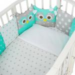 Комплект в кроватку Евротек, Совята, 7 предметов, 38454 цвет: зеленый