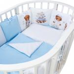 Комплект в кроватку Евротек, Спящий мишка, 6 предметов, 40066 цвет: голубой