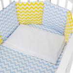 Бортик в кроватку Евротек Зигзаг 12 подушек 49713 цвет: жёлтый/голубой