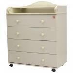 Пеленальный комод 4 ящика Топотушки Фортуна ЛДСП 800/4 цвет: слоновая кость