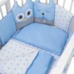 Комплект в кроватку Евротек, Лесные жители, 3 предмета, 60042 цвет: голубой