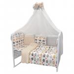 Комплект в кроватку Евротек Весёлые слоники 7 предметов, 32183 цвет: бежевый