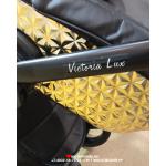 Коляска 2 в 1 Ray Victoria Lux, 28 цвет: черная кожа/золото