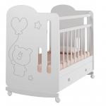 Кроватка-качалка+ящик ВДК Sweet Bear цвет: белый
