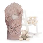 Конверт-одеяло на выписку для новорожденного Лен цвет: кофейный