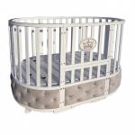Кроватка-трансформер Круглая-Овальная с маятником Malika Royal Majesty цвет: белый