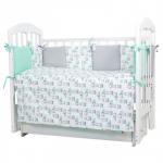 Комплект в кроватку Топотушки Зайчики, 6 предметов, 612 цвет: белый/зелёный