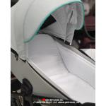 Коляска 2 в 1 Adamex Cristiano CR-286 цвет: светло-серая кожа/мятный меланж