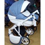 Коляска 2 в 1 Adamex Sicilia Deluxe X10 цвет: голубой/белая кожа