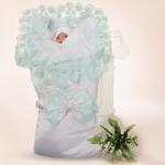 Конверт-одеяло на выписку 2 предмета Атлас цвет: белый/светло-салатовое кружево