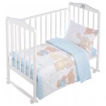 Комплект в кроватку Евротек, Мишка с зайчиком, 3 предмета, 80250 цвет: голубой