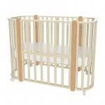 Кроватка-трансформер Malika Verona 4 в 1 цвет: слоновая кость/стойки бук