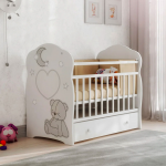 Кроватка-маятник+ящик ВДК Bear and moon цвет: белый