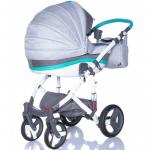 Коляска 2 в 1 Adamex Vicco Standart R9 цвет: серый/графитовый/бирюзовый