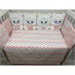 Комплект в кроватку Евротек, Дружные котята, 6 предметов, 80340 цвет: розовый