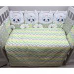Комплект в кроватку Евротек, Дружные котята, 3 предмета, 80343 цвет: зеленый