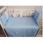 Комплект в кроватку Евротек, Панно Веселый  медвежонок, 6 предметов, 80110 цвет: голубой