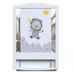 Кроватка-маятник+ящик ВДК Happy lion цвет: белый
