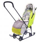 Санки-коляска Наши детки НДТ4-1/4 цвет: серый/лимонный