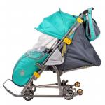 Санки-коляска Ника Детям 7 НД7 цвет: изумрудный/медвежонок