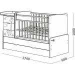 Кровать трансформер СКВ 5 Жираф поперечный маятник 4 ящика (Бежевый) 540039-1