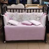 Комплект в кроватку Евротек, Панно Зайка с шариком, 6 предметов,  80221 цвет: розовый