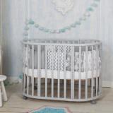 Кровать Incanto Mimi 7в1 круг-овал с маятником цвет: серый/белый