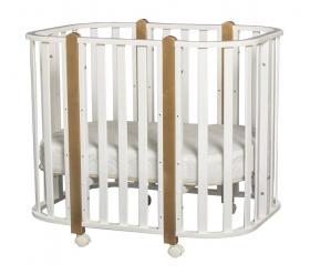 Кровать-трансформер+маятник Indigo Brioni 4 в 1 цвет: белый/натуральный